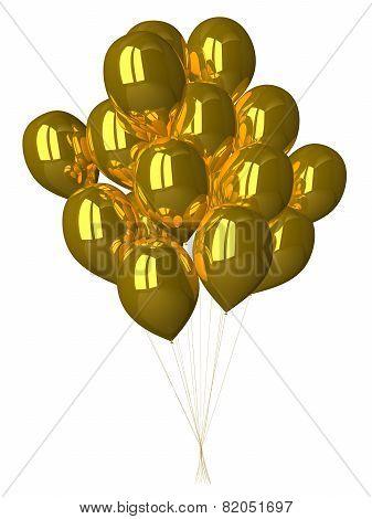 Many Gold Glossy Balloons