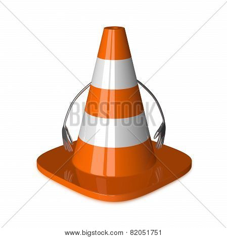 Traffic Cone Character Isolated