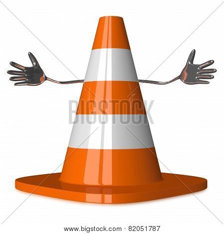 Welcoming Traffic Cone Character