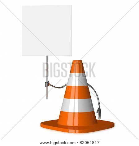 Traffic Cone Character With Placard