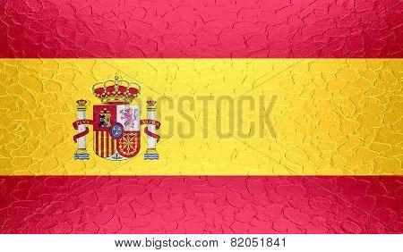 Spain flag on metallic metal texture