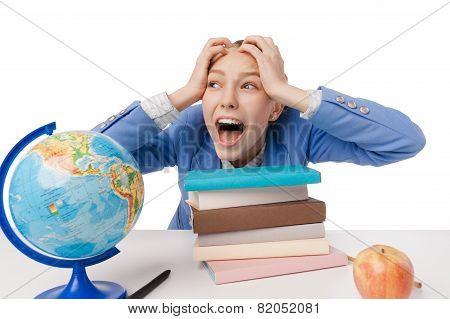 shouting and tired student girl with many book