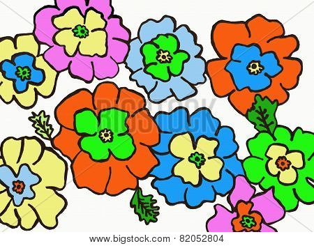 Flowers colored of the spring, a spring makes of multicolored flowers