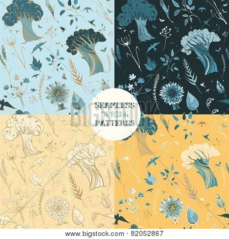 Four Seamless Spring Patterns With Plants, Birds And Butterflies