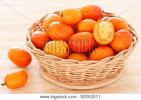 Fruit Jocote (sineguela, Siriguela, Red Mombin, Purple Mombin, Hog Plum, Ciruela Huesito) In Wicker