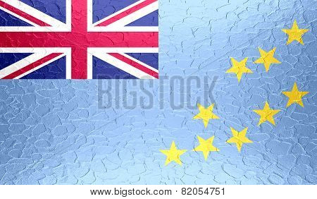 Tuvalu flag on metallic metal texture