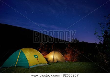 Illuminated Yellow Camping Tent