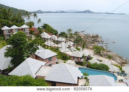 View to a hotel at the shore of Koh Samui island in Koh Samui Thailand.