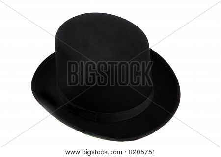 Man's top hat on a white backgroudn