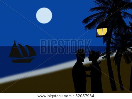 Couple On A Tropical Beach At Night