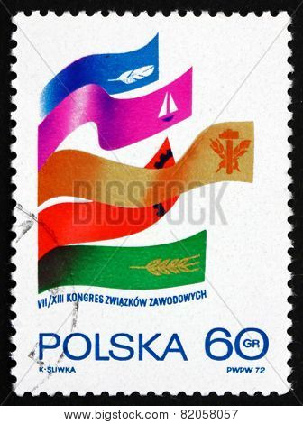 Postage Stamp Poland 1972 Ribbons With Symbols Of Trade Union