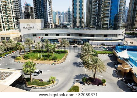 Dubai, Uae - September 12: The View On Buildings Of Dubai City And Construction Of Muslim Mosque On