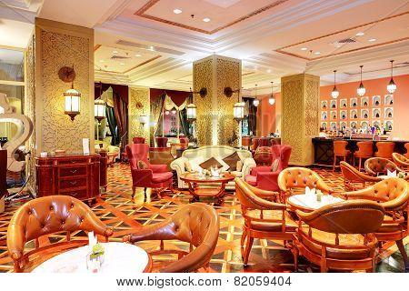 The Restaurant Interior Of Luxury Hotel, Ajman, Uae