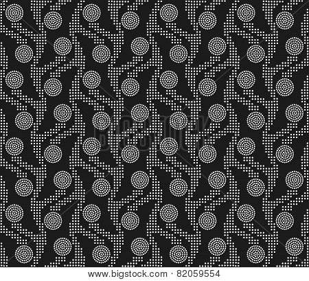 Repeating Ornament Vertical Dotted Stripes With Circles On Gray