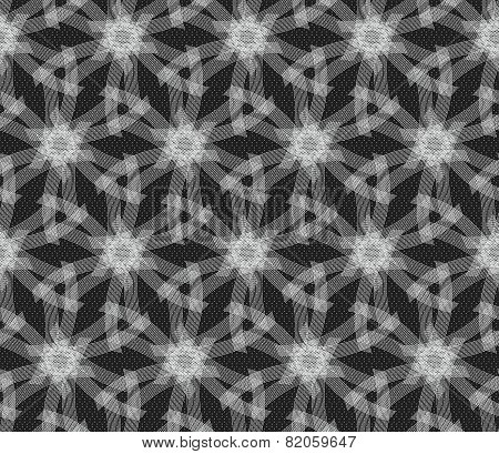 Repeating Ornament White Linear Stars