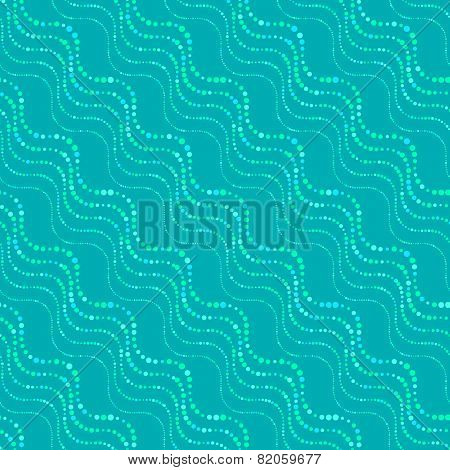 Textured Ornament With Blue Doted Wavy Lines