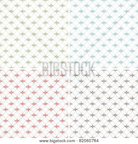 Set Of Seamless Patterns With Abstract Decorative Ornament.