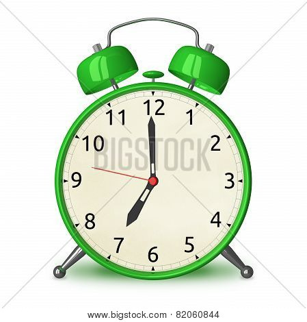 Green Alarm Clock Isolated