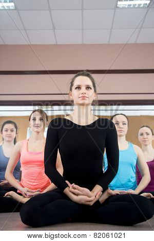 Group Of Five Yogi Females Sitting In Sukhasana