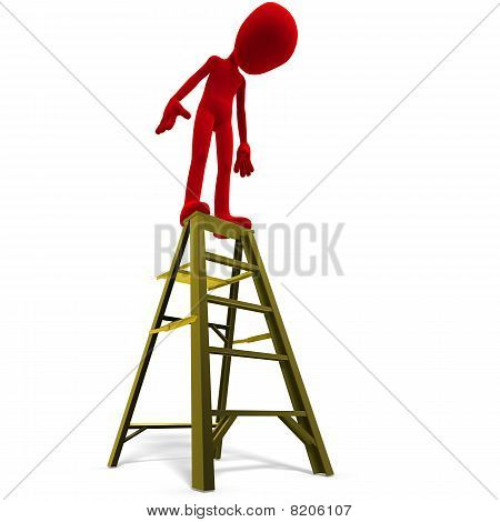 3d male icon toon character on top of a ladder