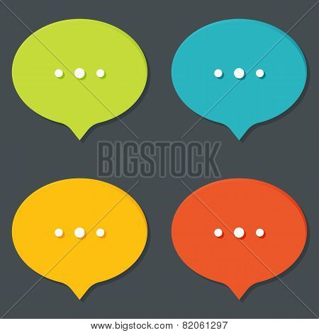 Set of flat icons with shadow. Online status talk speech icons with dots. Different colors.