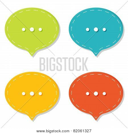 Chat sign icon. Speech talk bubble symbols. Chat bubbles. Dashed line decoration.