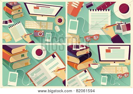Collection Of Four Flat Design Work Desks, Long Shadow, Office Desk, Computer And Stationery