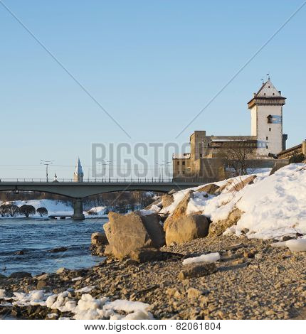 Hermann castle of Narva fortress winter landscape