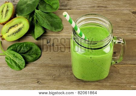 Green smoothie in a jar downward view