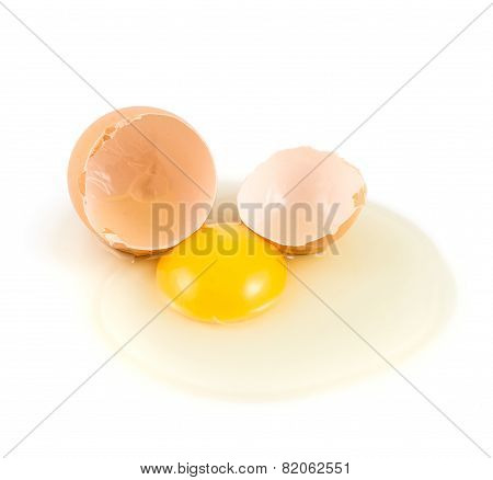 Cracked egg shell with yolk and protein