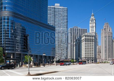 Famous Wrigley Building And Trump Tower In Chicago.