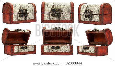 Set With Vintage Box Isolated On A White