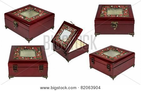 Set With Vintage Wooden Red Box, Isolated On A White