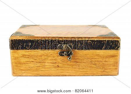 Old-fashioned wooden casket