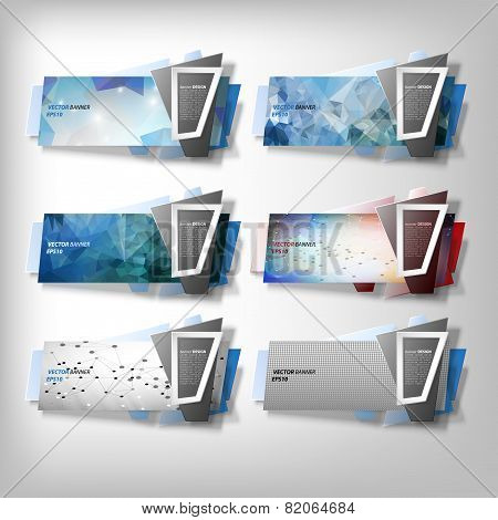 Big Infographic banners set, origami styled vector