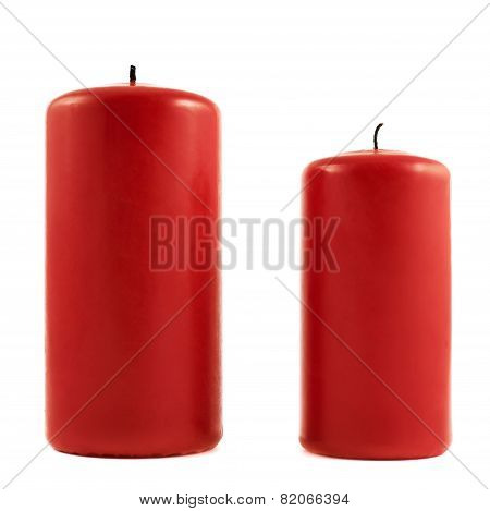 Two small and big red candles