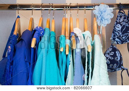 Dressing closet with red and pink clothes arranged on hangers