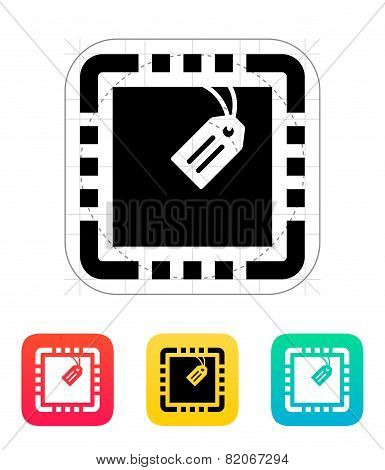 CPU with Tag icon. Vector illustration.