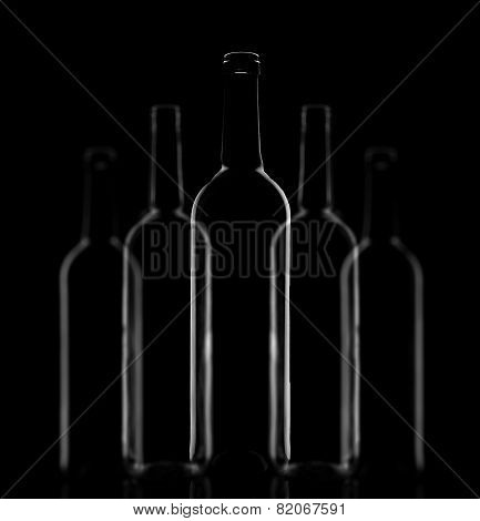 Five glass bottles composition