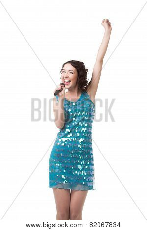 Happy Young Woman Singing In Short Sparkling Blue Dress