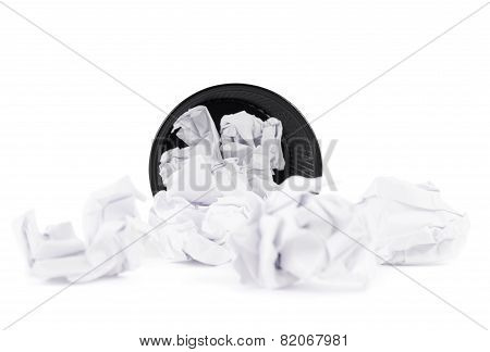 Office paper trash bin isolated