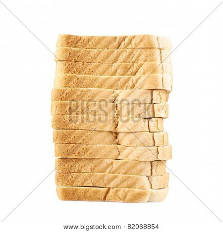 Pile of the sliced bread toasts