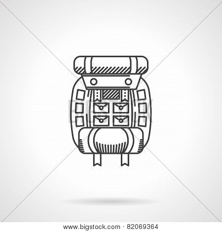 Hike rucksack flat line vector icon