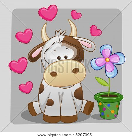 Cow With Heart And Flower