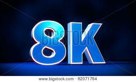 8K Ultra High Definition Resolution Three-dimensional Glow Text