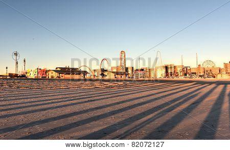 Coney Island Beach At Sunset