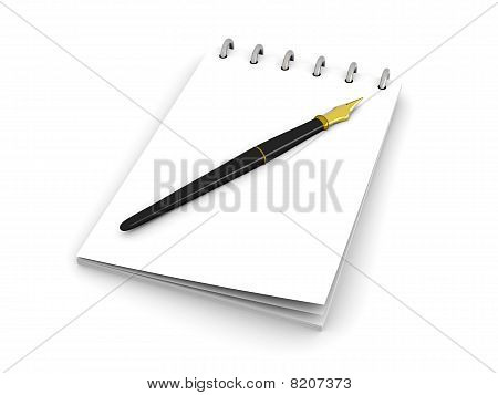 Fountain Pen And Notepad