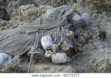 Fishing Net Lying On The Shore