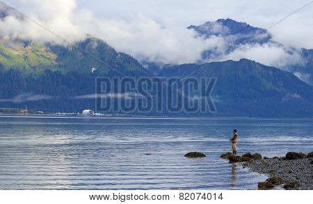Alone Fisherman In Seward