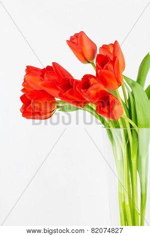 Orange Tulips In A Glass Vase